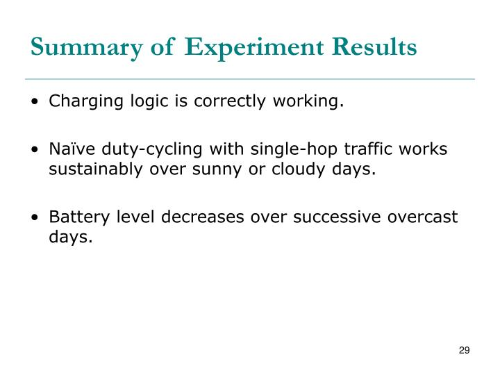 Summary of Experiment Results
