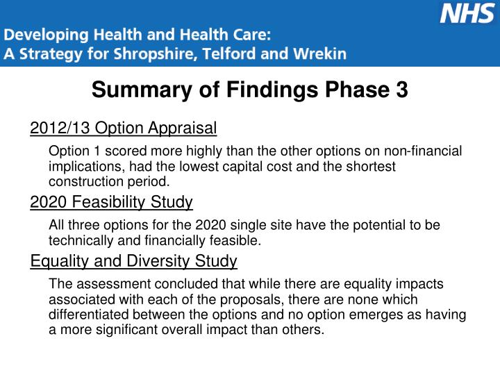 Summary of Findings Phase 3