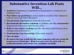substantive invention lab posts will