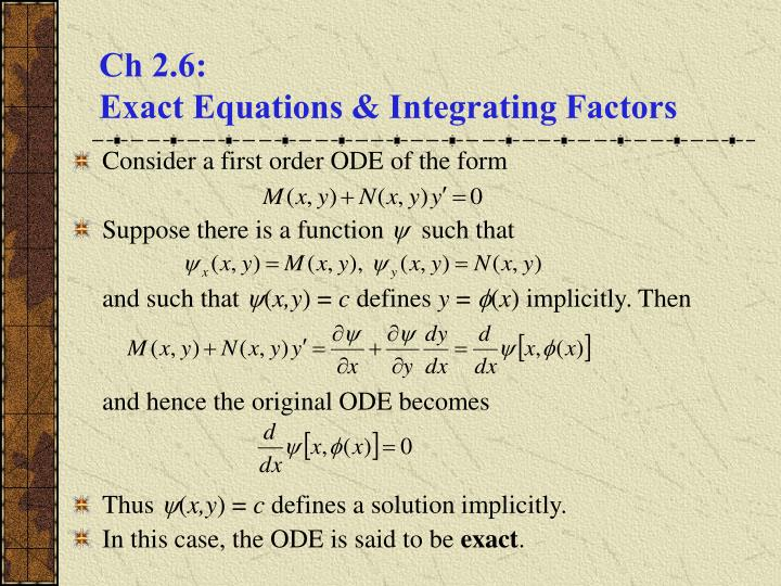 ch 2 6 exact equations integrating factors n.