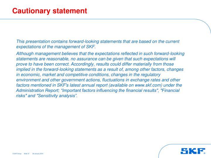 Cautionary statement
