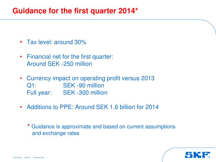 Guidance for the first quarter 2014*