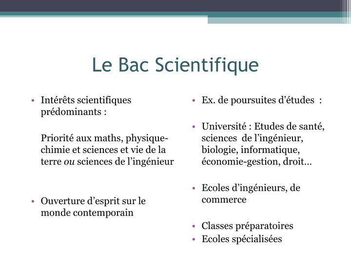 Le Bac Scientifique
