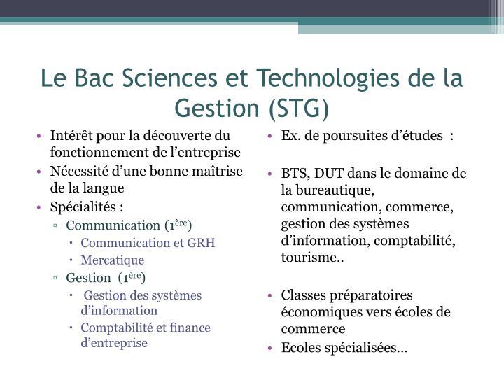 Le Bac Sciences et Technologies de la Gestion (STG)