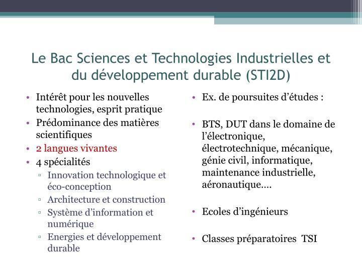 Le Bac Sciences et Technologies Industrielles et du développement durable (STI2D)