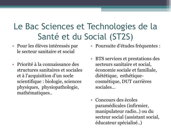 Le Bac Sciences et Technologies de la Santé et du Social (ST2S)