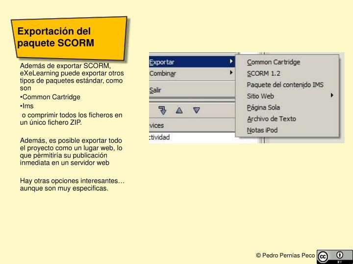 Exportación del paquete SCORM