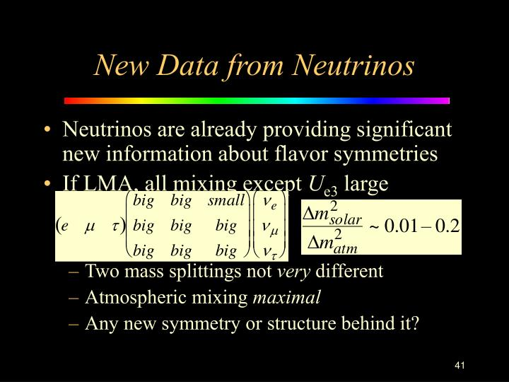 New Data from Neutrinos