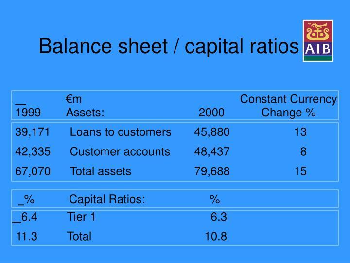 Balance sheet / capital ratios