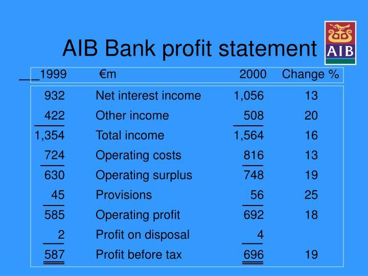 AIB Bank profit statement