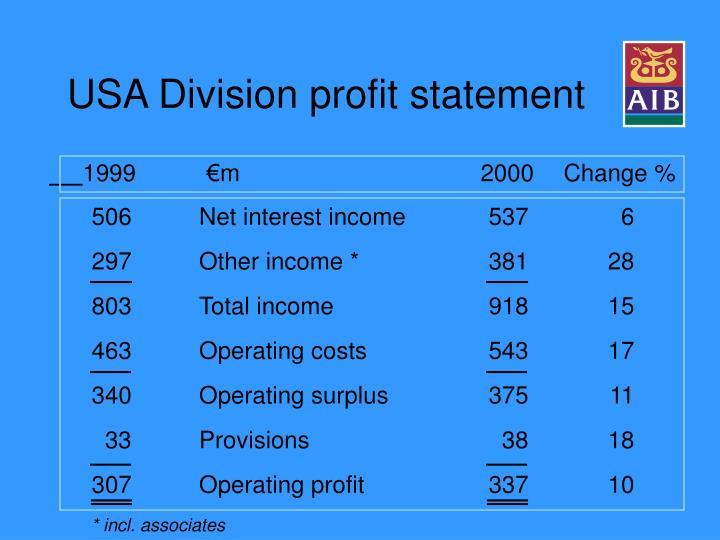 USA Division profit statement