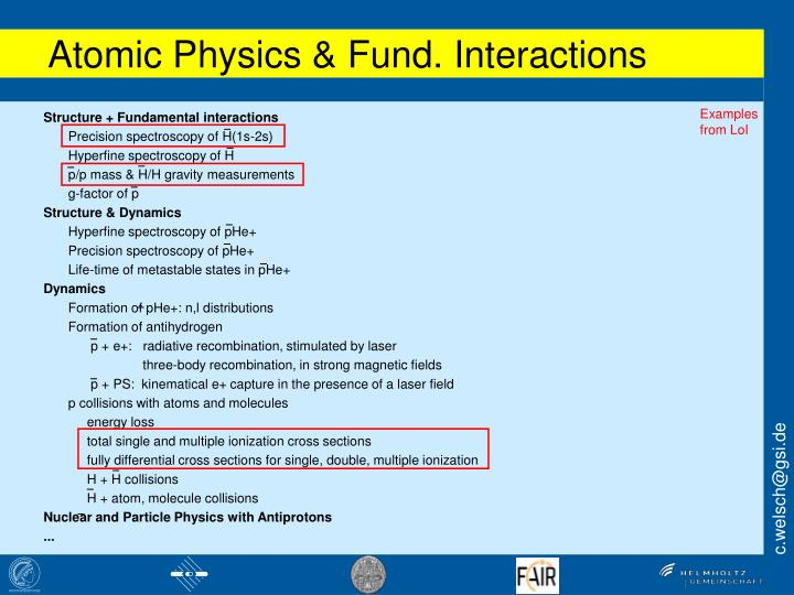 Atomic Physics & Fund. Interactions