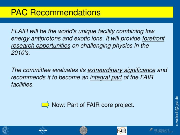 Now: Part of FAIR core project.