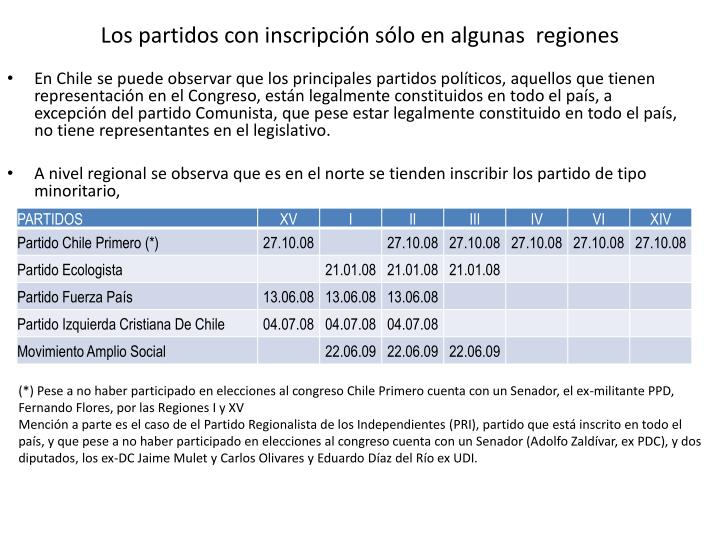 Los partidos con inscripción sólo en algunas  regiones