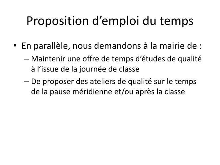 Proposition d'emploi du temps