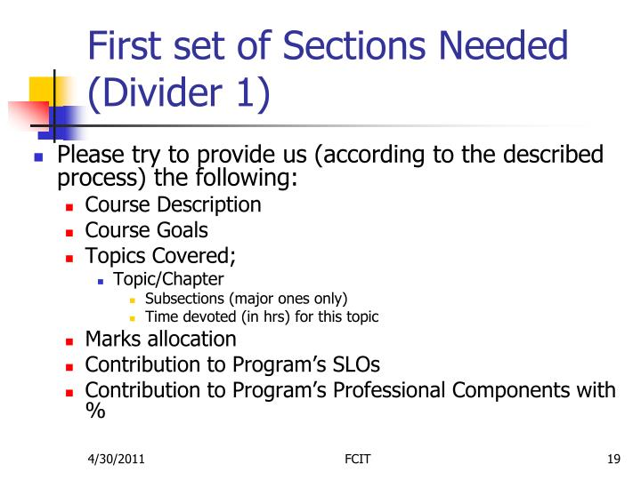First set of Sections Needed