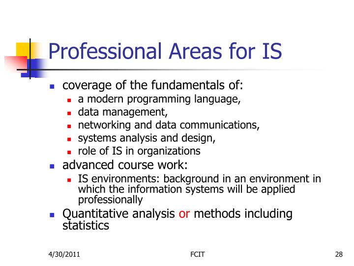 Professional Areas for IS