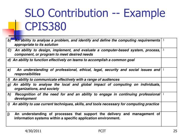 SLO Contribution -- Example CPIS380