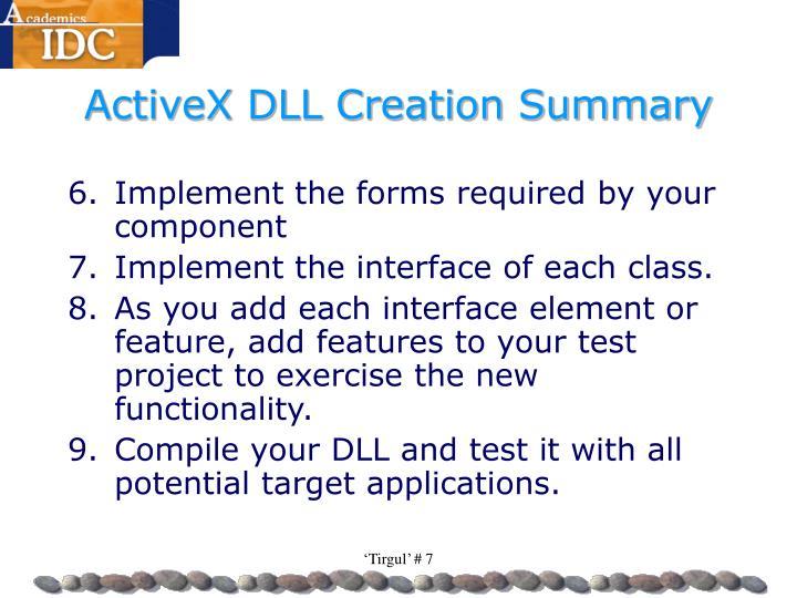 ActiveX DLL Creation Summary
