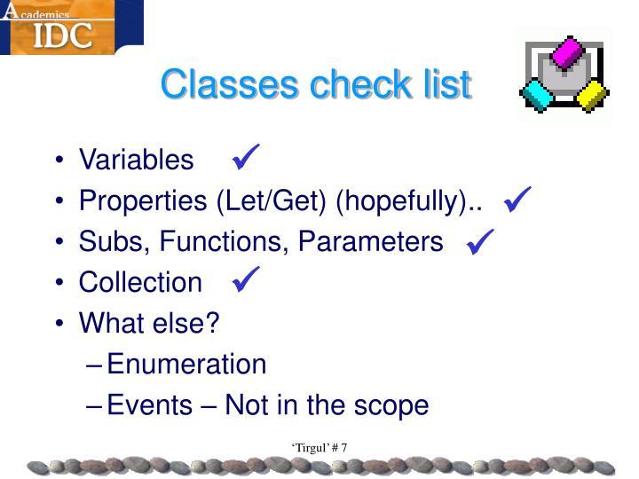 Classes check list