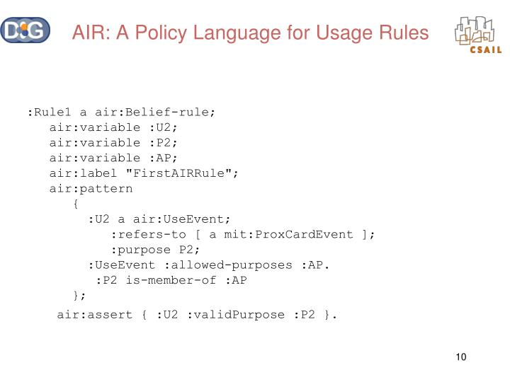 AIR: A Policy Language for Usage Rules