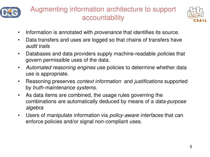 Augmenting information architecture to support accountability