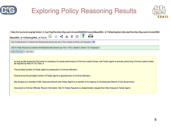 Exploring Policy Reasoning Results