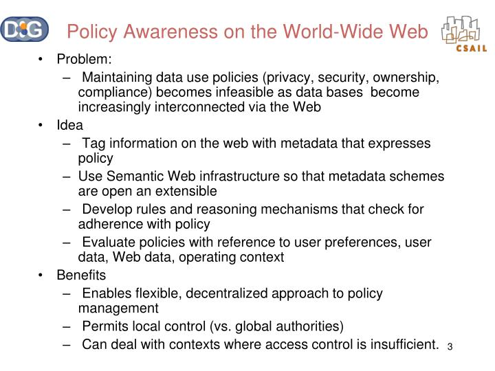 Policy awareness on the world wide web