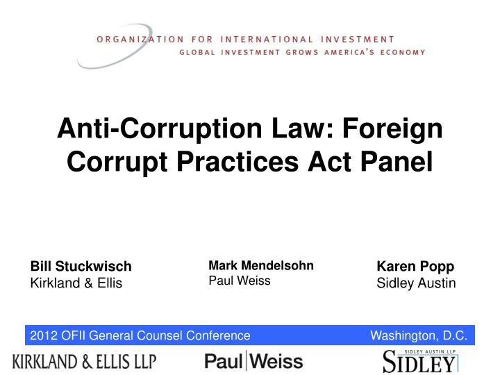 Ppt Anti Corruption Law Foreign Corrupt Practices Act