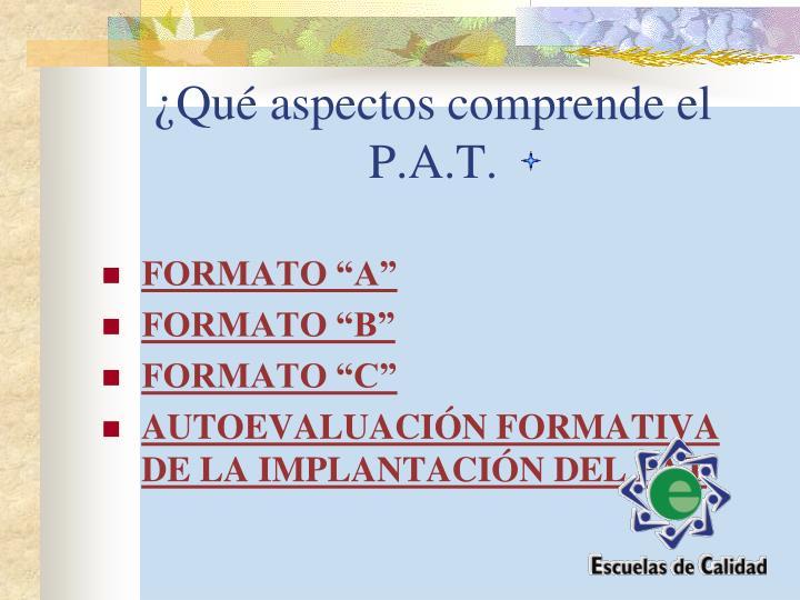 ¿Qué aspectos comprende el P.A.T.