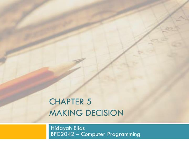 chapter 5 making decision n.