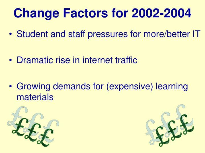 Change Factors for 2002-2004