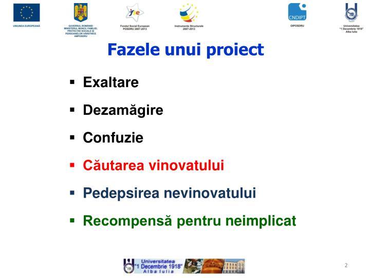 Fazele unui proiect