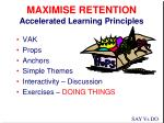 maximise retention accelerated learning principles