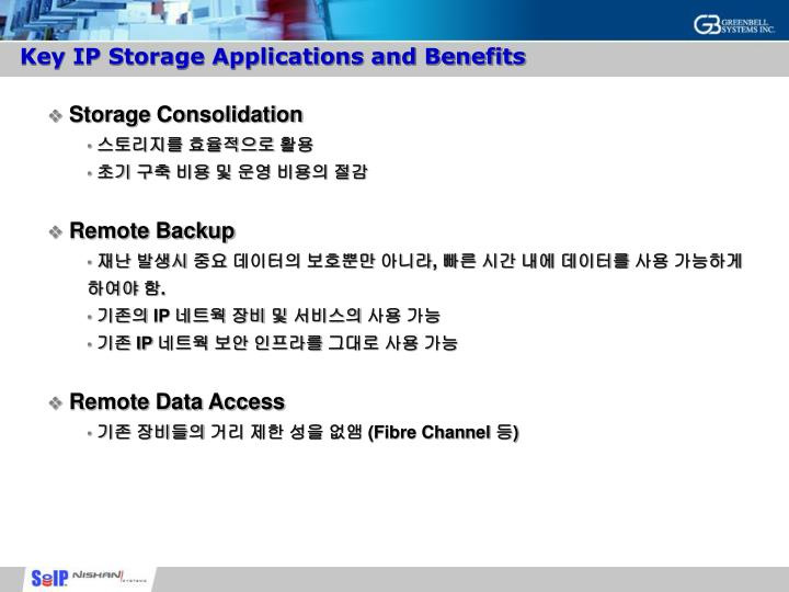 Key IP Storage Applications and Benefits