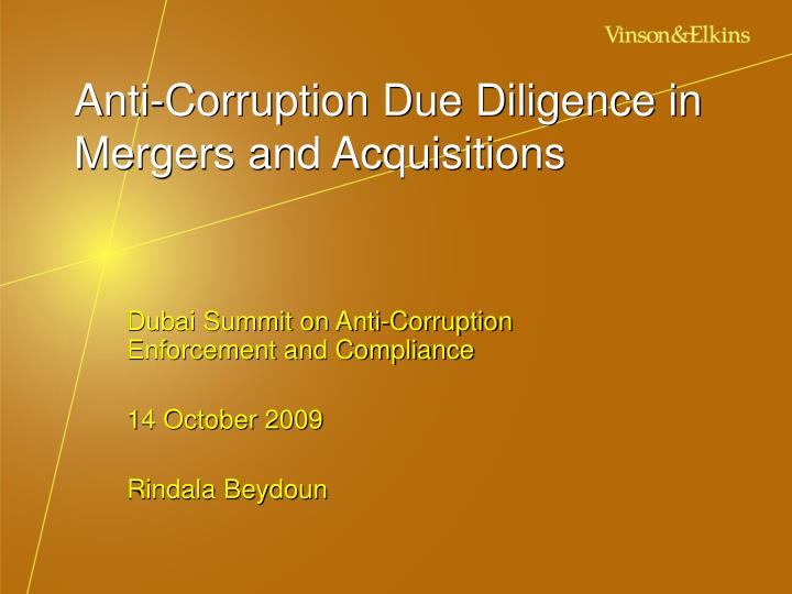 anti corruption due diligence in mergers and acquisitions n.