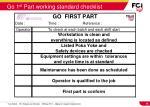 go 1 st part working standard checklist