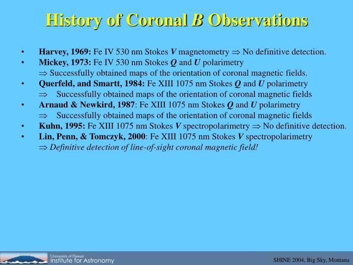 History of coronal b observations