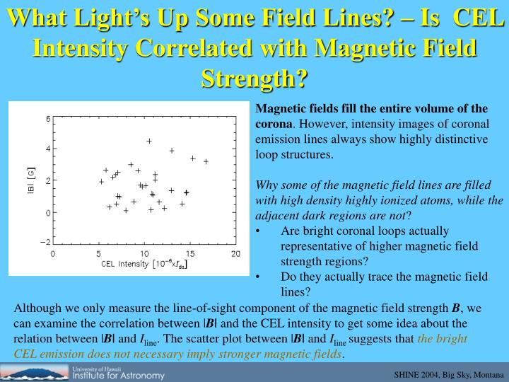 What Light's Up Some Field Lines? – Is  CEL Intensity Correlated with Magnetic Field Strength?