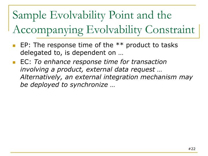 Sample Evolvability Point and the Accompanying Evolvability Constraint