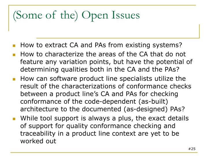 (Some of the) Open Issues