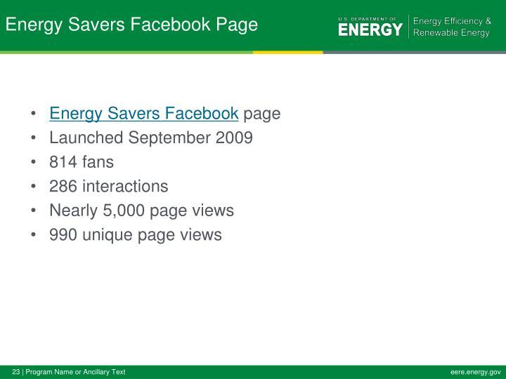Energy Savers Facebook