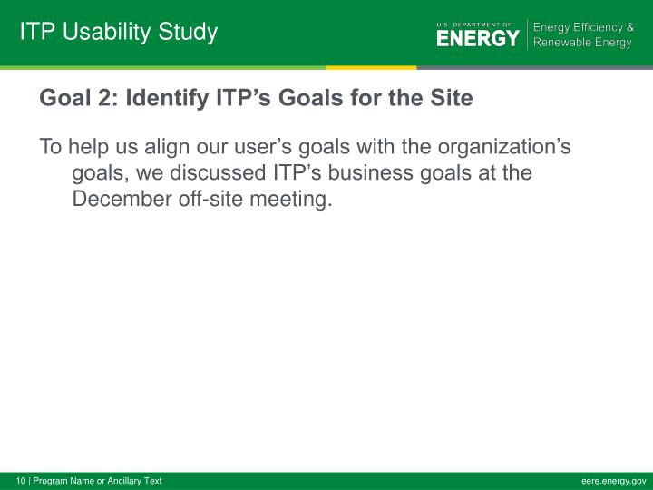 Goal 2: Identify ITP's Goals for the Site