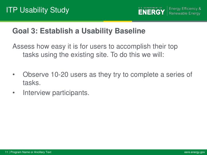 Goal 3: Establish a Usability Baseline
