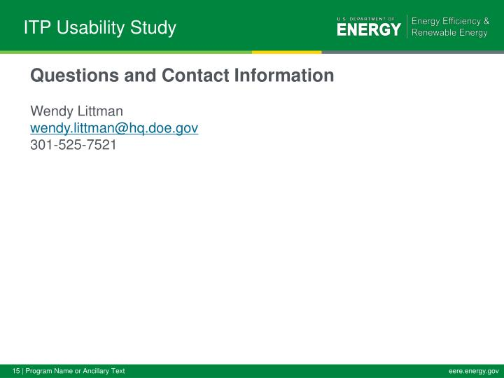 ITP Usability Study