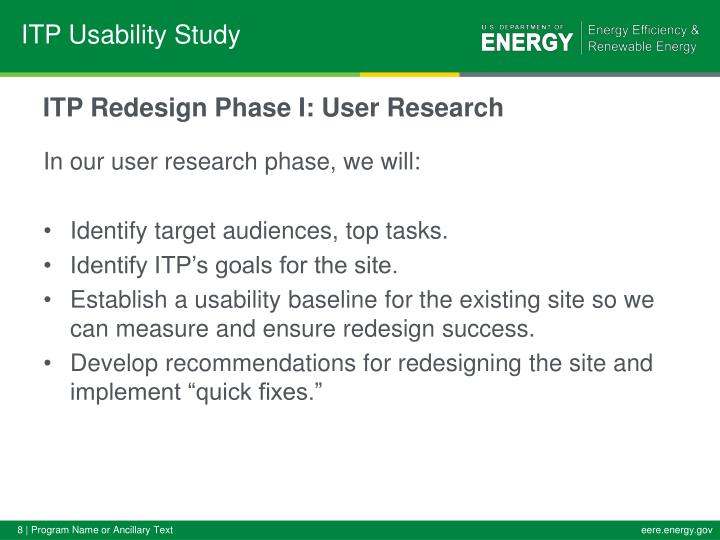 ITP Redesign Phase I: User Research