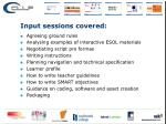 input sessions covered