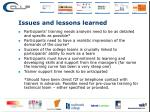 issues and lessons learned