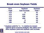 break even soybean yields