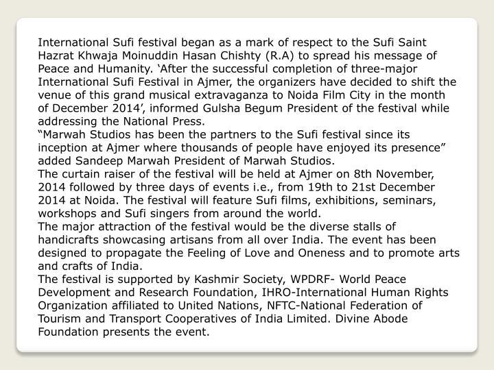 International Sufi festival began as a mark of respect to the Sufi Saint